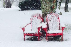 adirondack chairs and snow